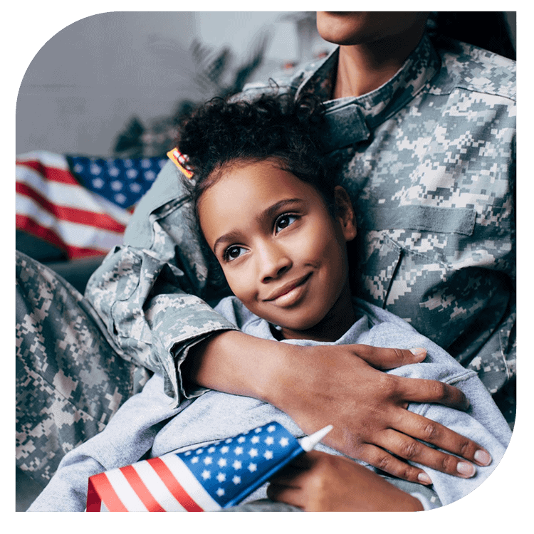 Portrait Photo of Young Girl Dressed in a Military Outfit being hugged by Her Mom and Holding an American Flag at Sand Oak Divorce Financial Planning Services